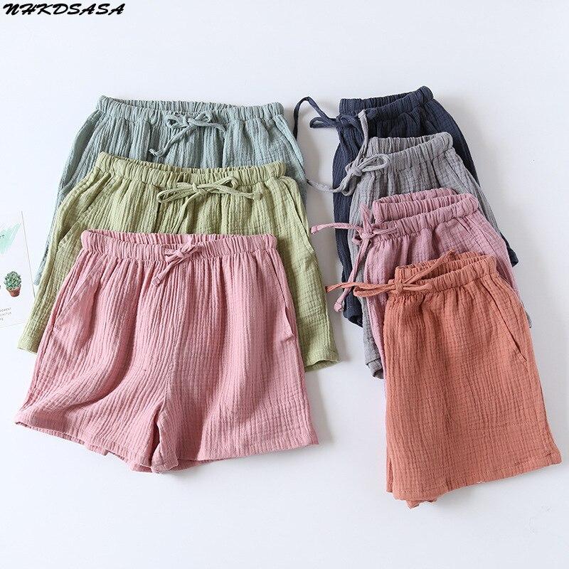 Women's Pajama Shorts 100% Cotton Double-Layer Gauze Sleep Bottoms Beach Shorts Plus Size Thin Loung