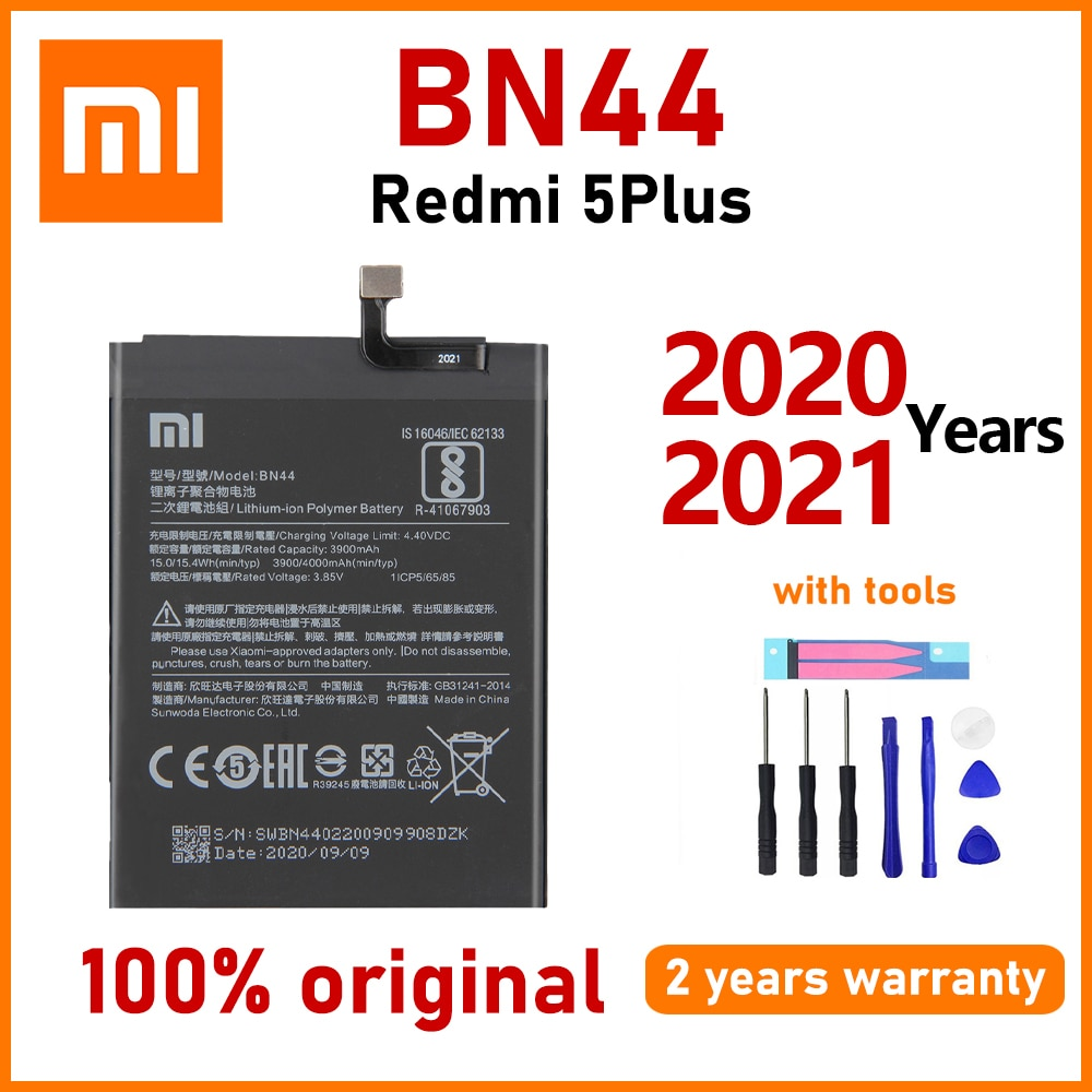 Xiao Mi Original 4000mAh BN44 Battery For Xiaomi Redmi 5 Plus Phone High quality Batteries With Free Tools+Tracking Number недорого