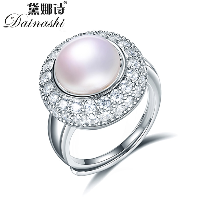 Dainashi de Plata de Ley 925 anillo redondo de cristal de circón ajustable elegante 100% genuino de agua dulce cultivado anillo de perlas regalo de fiesta