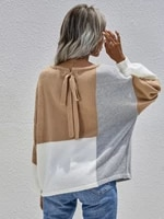 fashion long sleeve hollow out splicing color knitted sweaters o neck tops loose back bandage cardigan womens sweater 2021