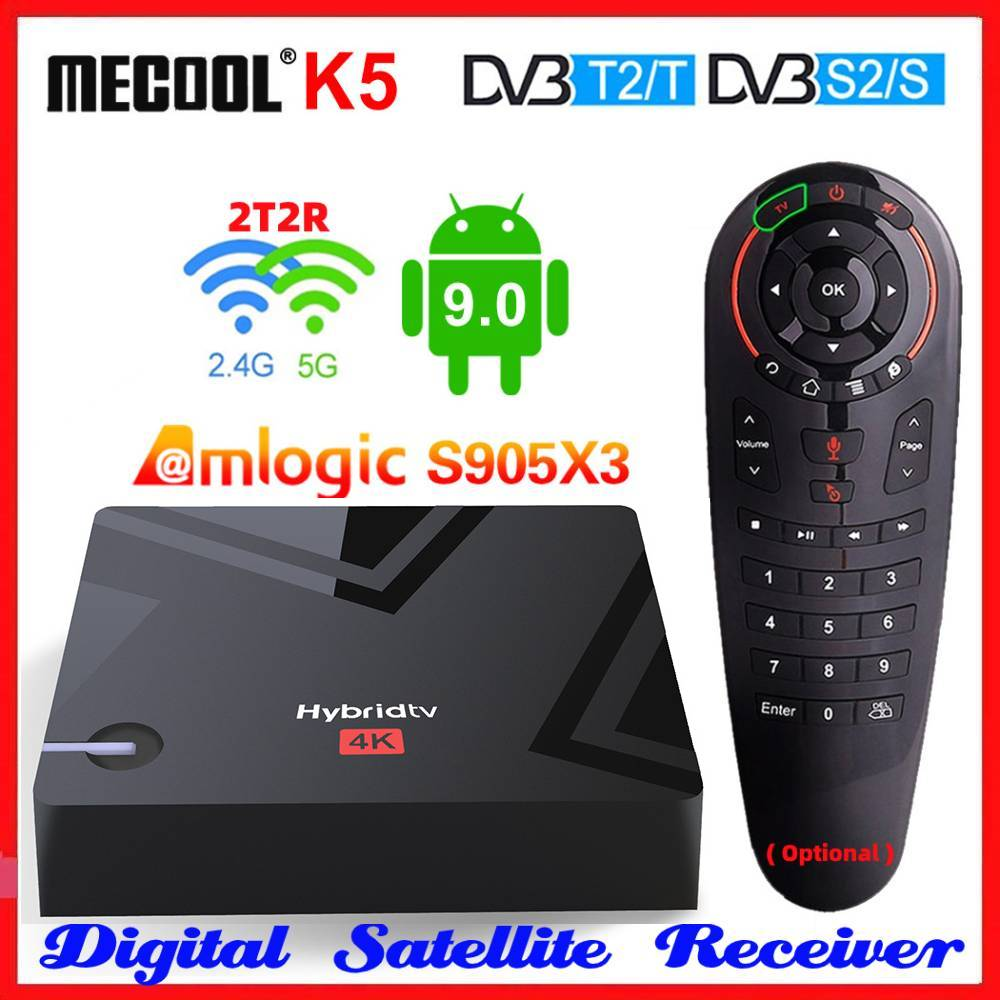 Mecool K5 Amlogic S905X3 Smart TV Box Android 9.0 4K Media Player DVB-S2/T2 Satellite Receiver 2.4&5G 2T2R Dual WIFI Set top BOX