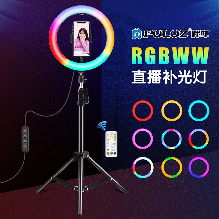 Arc-shaped 26cm Marquee With 168 Lamp Beads Rgbww Dual-color Temperature Dimmable Ring Fill Light Selfie Round Novelties Photo