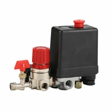 1Set 20A Air Compressor Pressure Valve Switch Control Manifold Regulator Gauge Switch 95-125PSI
