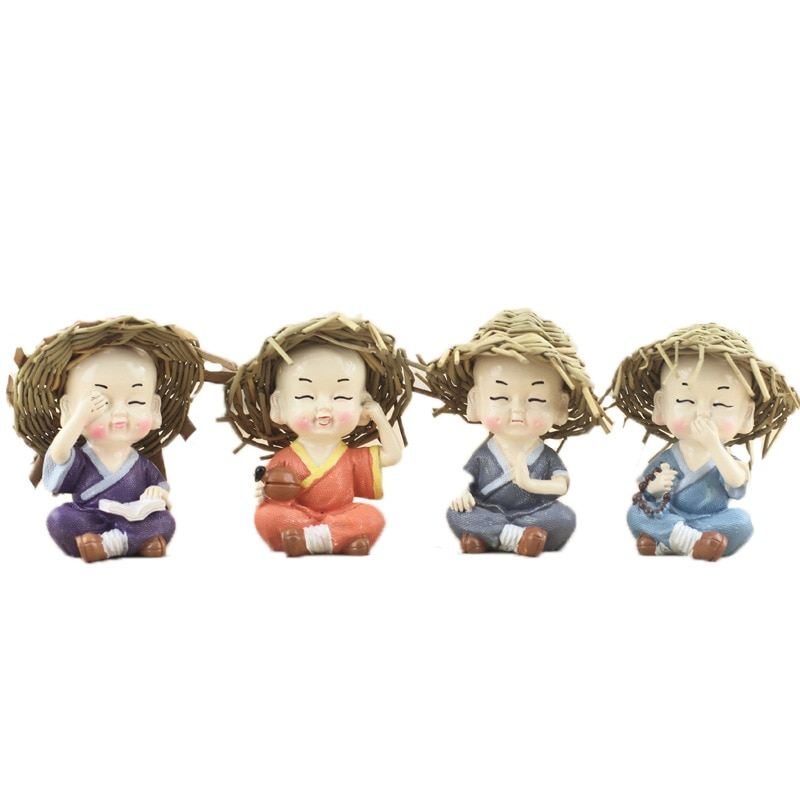 Modelo en miniatura de dibujo animado sombrero de paja Monje, resina moderna artesanías de escultura, mini estatua de Buda para la decoración del hogar, decoración del coche