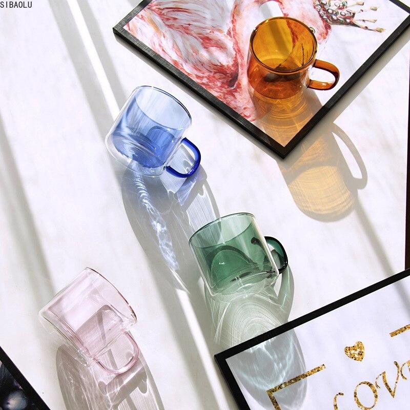 Цветная прозрачная стеклянная кофейная чашка из боросиликатного волокна с ручкой, чашка для завтрака из овсянки, термостойкая чайная чашка, домашняя кофейная чашка