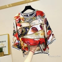 pullover blouse woman spring and summer 2021 new retro loose large size casual all match round neck chiffon shirt 34 sleeve