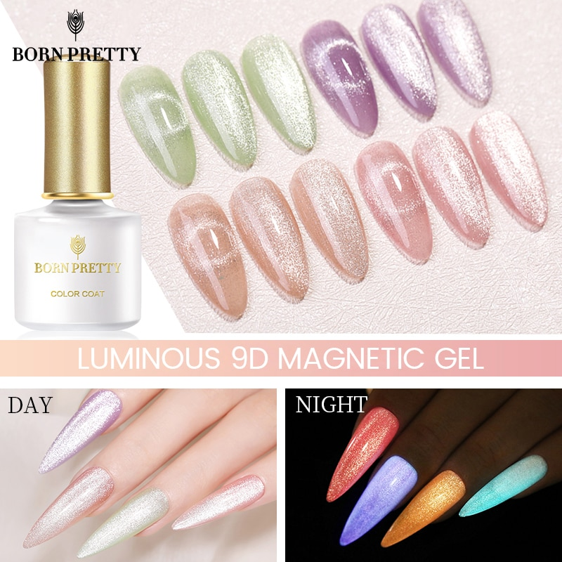 BORN PRETTY Luminous Cat Magnetic Nail Gel 6ml Silver Holographics Glitter Gel Nail Polish Magnetic