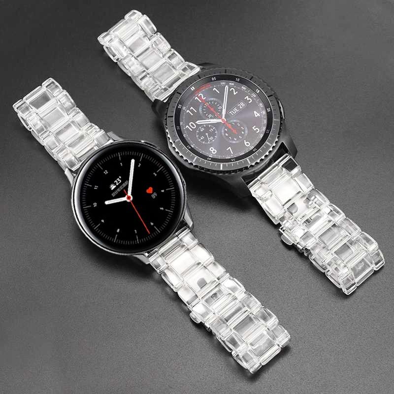 Transparent resinr Strap Für Samsung Aktive 2 44mm 40mm/Galaxy Uhr 46mm 42mm/Getriebe sport/S3 Band Armband Uhrenarmbänder 20/22mm