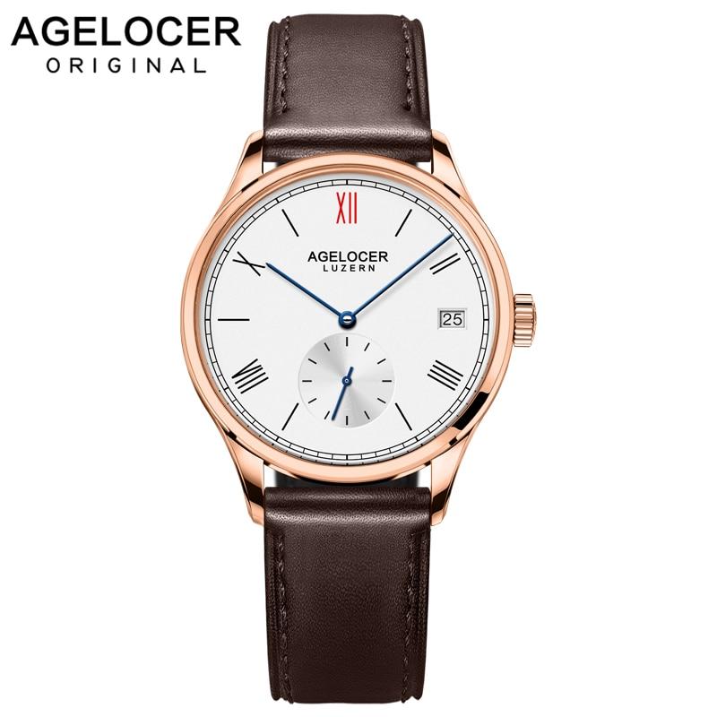 Agelocer Brand Fashion Ladies Watch Women Gold Watch Leather Sapphire Brown Waterproof Mechanical Wristwatch Montre Femme