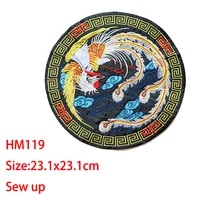 cartoon decorative round patch peacockphoenixbird icon embroidered applique patches for diy iron on badges stickers on clothes