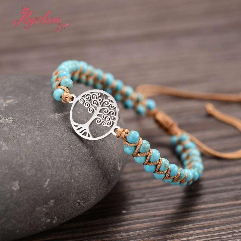 Дерево очарование камень обёрточная бумага браслеты бирюза африканская японская веревка плетеные браслеты Йога дружба браслет для любимой богемный браслет