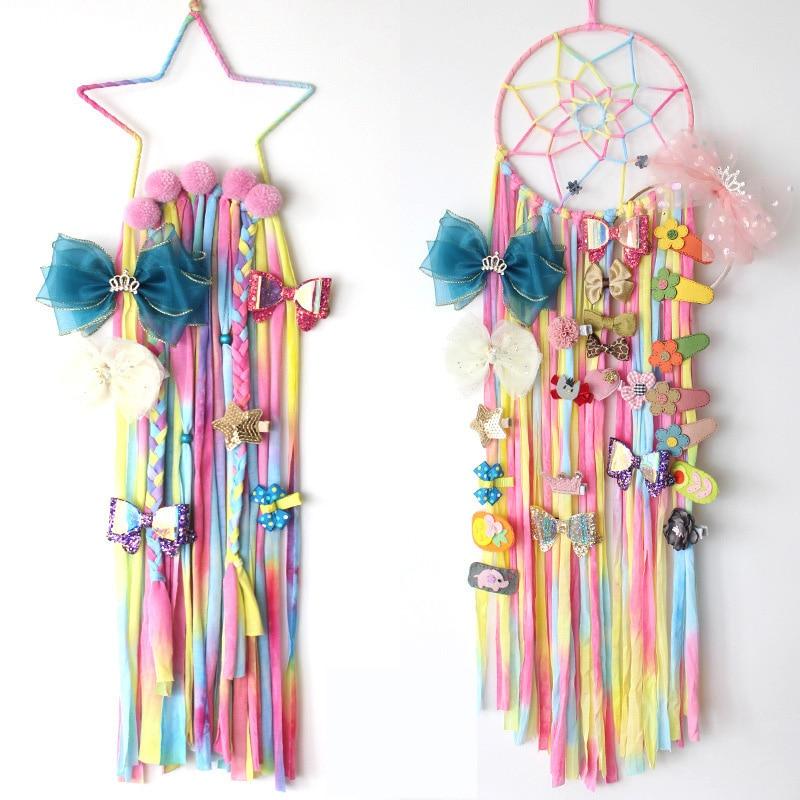 Handmade Hanging Decorations for Kids Room Unicom Girls Hairband Hanging Organizer Dream Catcher Craft Girls Hair Bows Barrette