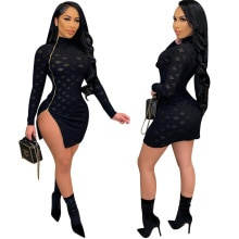 2021 INS Hot Women Black Nightclub Party Dresses See Through Mesh Long Sleeves Side Zipper Split Min