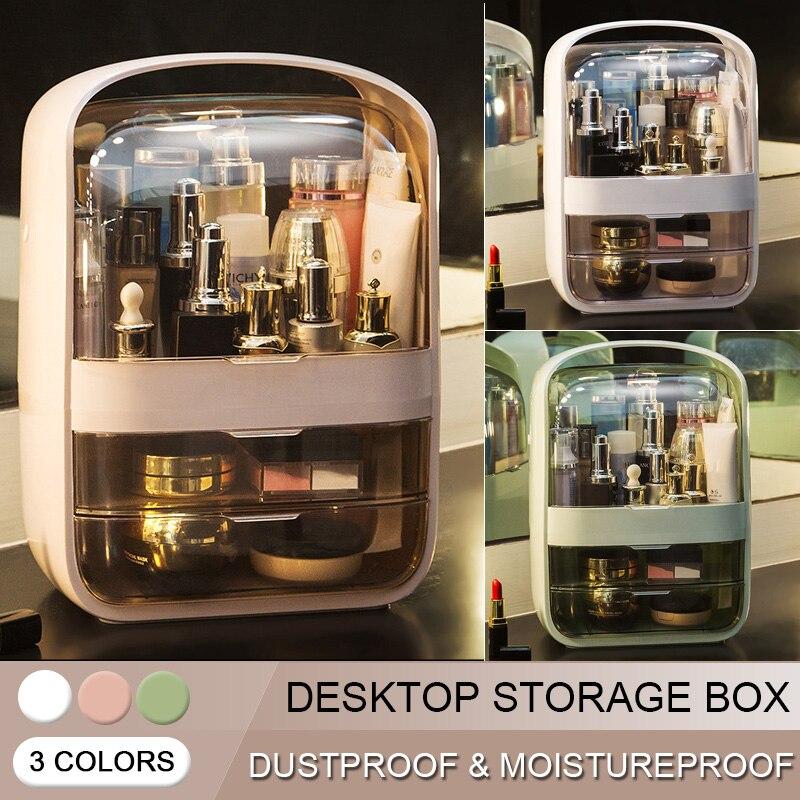 Organizador de cosméticos transparente, Caja de almacenaje creativa para maquillaje, organizador de escritorio portátil, cajones de almacenamiento, caja de belleza impermeable