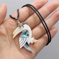 natural woodpecker colored shell pendant necklace cute animal leather rope jewelry diy charms necklace for women men jewelry
