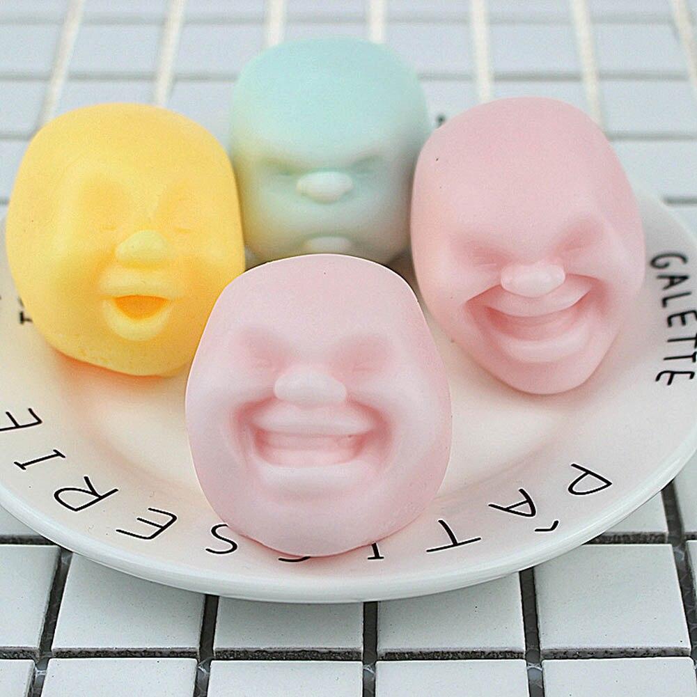 Nuevos Juguetes Divertidos de colores al azar antiestrés Bola de cara humana de ventilación Caomaru Geek sorpresa juguetes para adultos bola Anti estrés