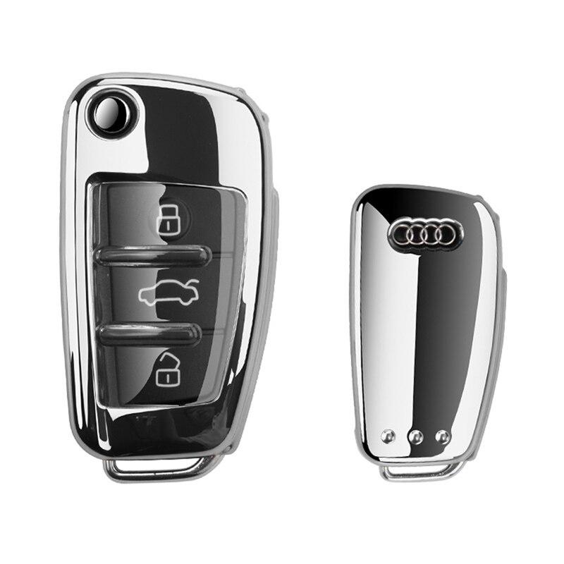 Plegable llave de coche cubierta TPU clave caso Protector de Shell Decoración Para Audi Q3 A3L Q2L A1 S3 R8 TT Q7 A6 accesorios de coche