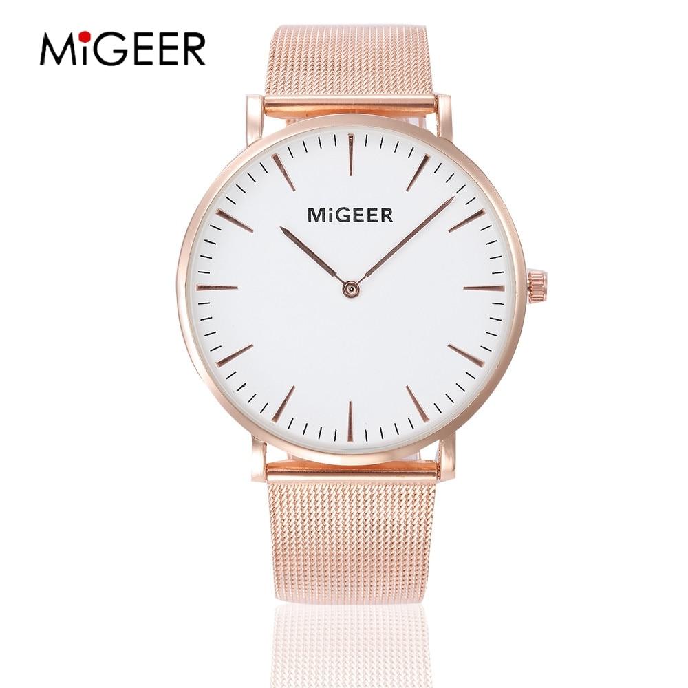 MIGEER Simple relojes mujer oro rosa señoras reloj femenino de cuarzo reloj de acero inoxidable moda mujer reloj
