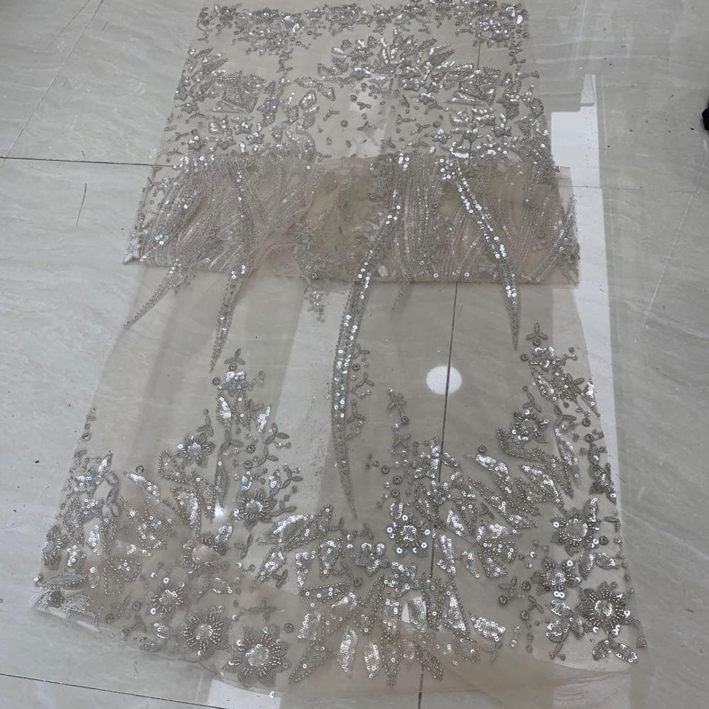 5 yardas/bolsa de plata bordada lentejuelas de lujo europeo y americano tela utilizada en el diseño del vestido de boda TYN21 #