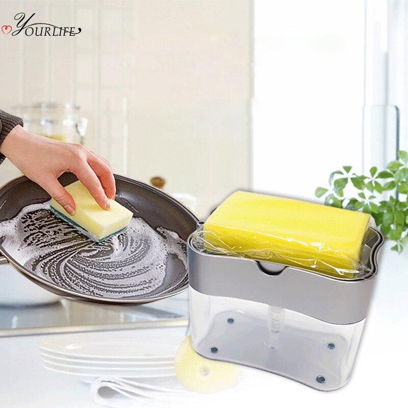 Dispensador de jabón tipo prensa OYOURLIFE de 380ml con esponja de lavado, dispensador de líquido para limpieza, contenedor, dispensador de jabón para cocina, bomba dispensadora