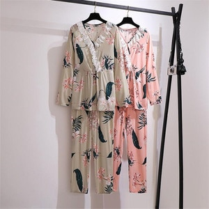 2020 Plus size XXL-6XL Spring Autumn Women's Pajamas Two-piece sets Thin Long sleeves Loose Lace Trousers Suit 2-piece sets KW09