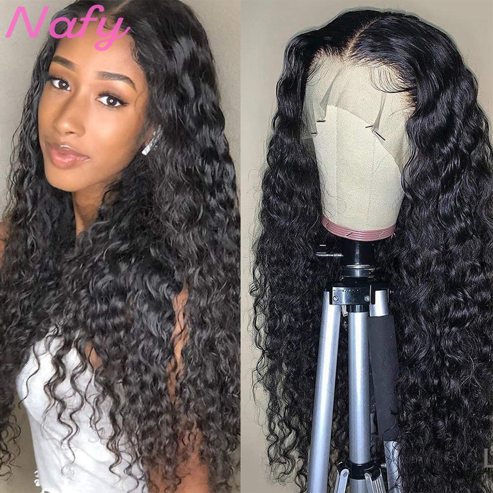 .On sale water wave wig curly lace front human hair hd transprent lace Frontal Wigs T Part Lace Front Human Brazilian Hair Wig