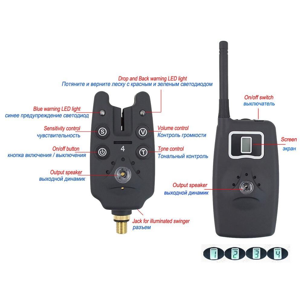 Wireless fishing bite alarm 1+4 set with 4pcs illuminated swinger in  case for carp fishing B1203S enlarge