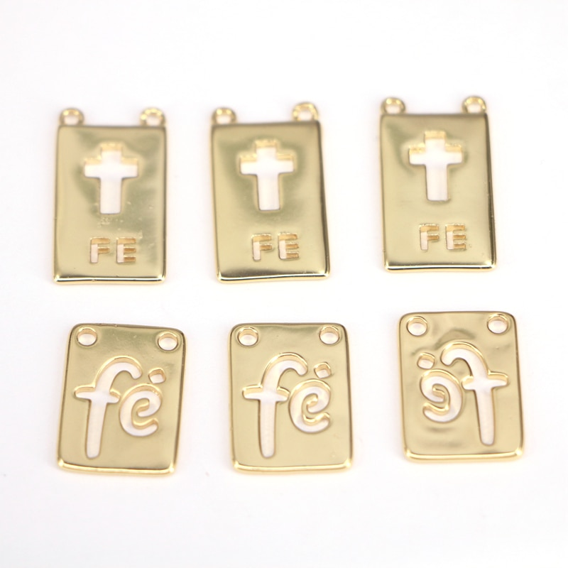 10Pcs Gold color Fe letter / Cross pendant, Gold Metal Pendant Necklace For Jewelry Making