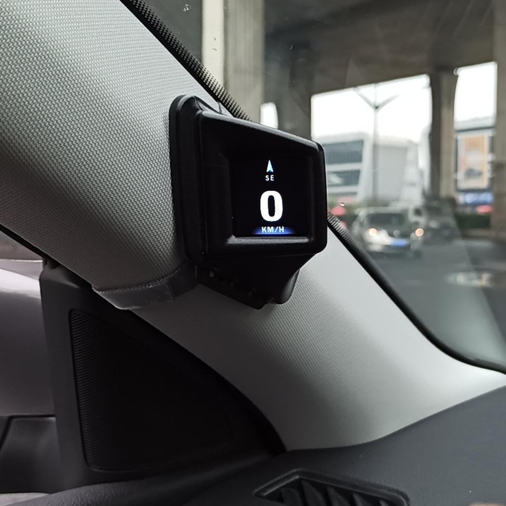 OBD GPS شاشة عرض أمامية مزدوجة للسيارة ، عداد سرعة رقمي 2 بوصة LCD مع إنذار السرعة الزائدة