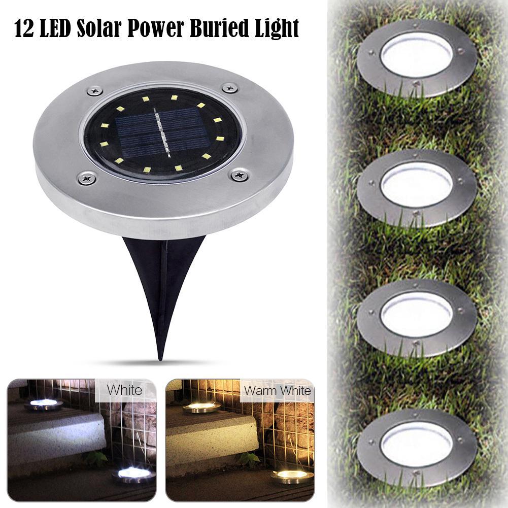 12 led Solar power light outdoor lights Garden Ground Lawn lamp Path IP65 Waterproof Underground Sensory Landscape Lighting