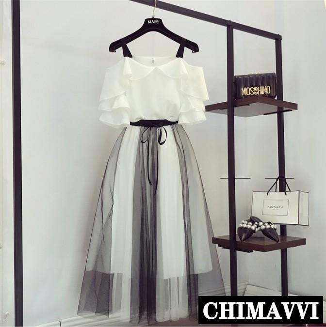 New Summer Women's Off Shoulder Simple Chiffon Shirt + Color Block Mesh Skirt Two-piece Student Girls Sweet Long Skirt Sets