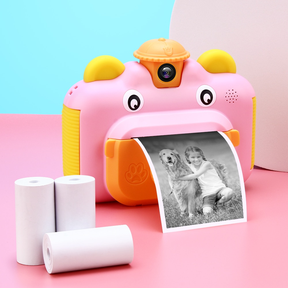 كاميرا أطفال كاميرا طباعة فورية للأطفال 1080P HD ألعاب فيديو كاميرا فوتوغرافية مع بطاقة 32GB