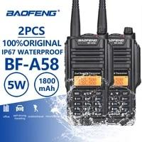 2pcs baofeng bf a58 ip67 waterproof walkie talkie uhf vhf a58 two way radio comunicador cb radio walky talky professional telsiz