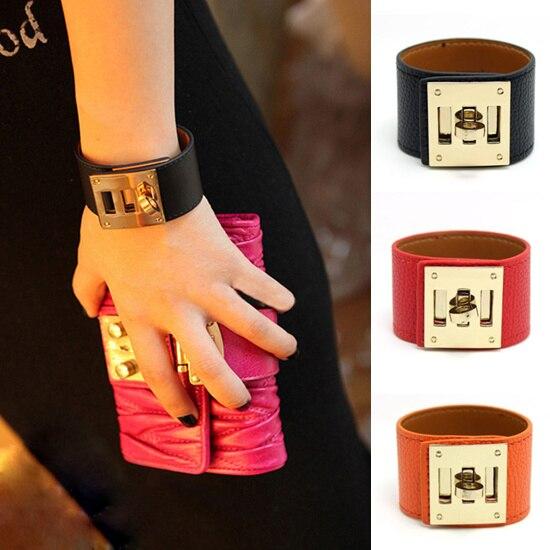 Pulseras y brazaletes de moda PU para mujer estilo Punk profundidad 3,5 cm declaración pulsera joyería pulseras Feminina Drop Shipping