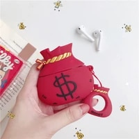 for airpods case soft silicone cute 3d cartoon money us dollar earphone cases for apple airpods 1 2 case protect cover funda bag