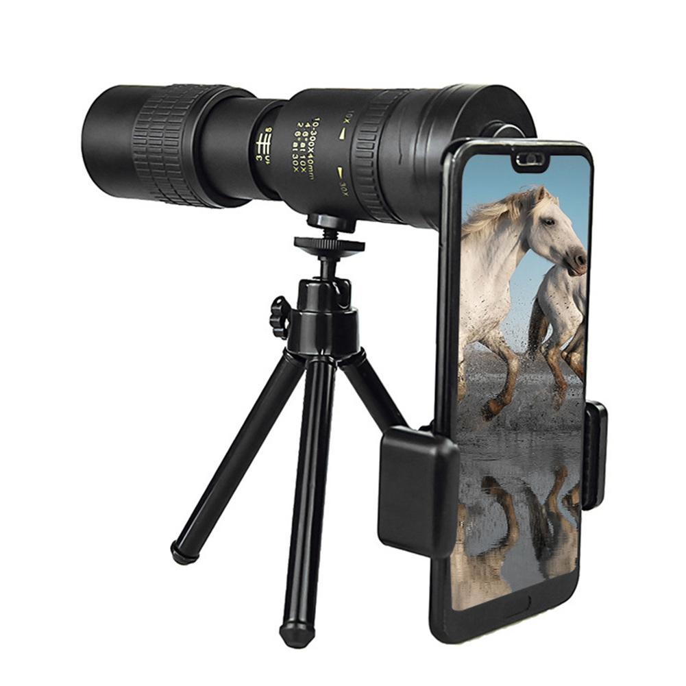Telescopio Monocular con Zoom superteleobjetivo 4K 10-300X40MM impermeable para teléfonos inteligentes avistaje de aves caza Camping