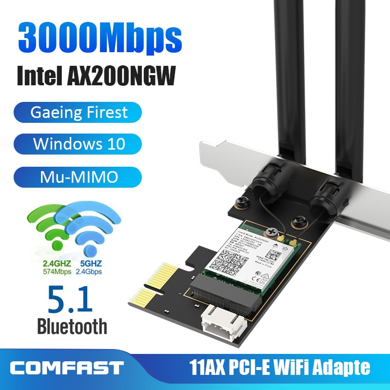 3000Mbps Dual Band Wireless Desktop PCIe Für Intel AX200 Pro Karte 802,11 ax 2,4G/5Ghz Bluetooth 5,1 PCI Express WiFi 6 Adapter