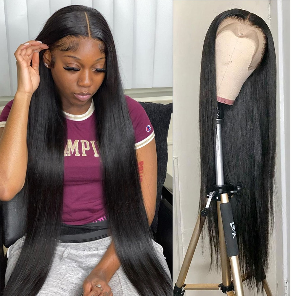 Hoho 28 30 32 Inchs Straight Lace Front Wig 250% Human Hair Wig 13x6 HD Lace Frontal Wig Indian Remy