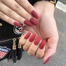 Faux ongles rouge mat forme de cercueil court plastiques impressionner presse sur ongles faux avec autocollant de colle ballerine artificielle Nepnagels
