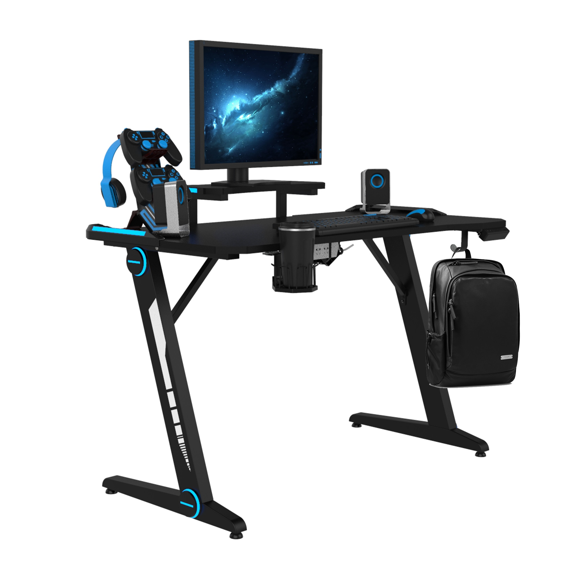 Gaming Desk, Z-Shaped Computer Desk Gamer Workstation with Monitor Stand & Carbon Fiber Surface, Gamer Table with RGB Lights