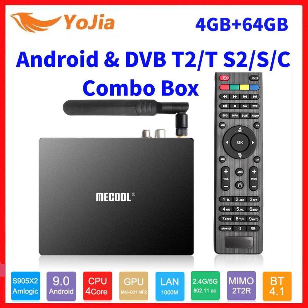 Mecool K7 Smart TV Box Android 9.0 DVB-T2/S2/C Amlogic S905X2 QuadCore 4GB RAM 64GB ROM 4K 2.4/5G Dual WIFI 1000M Set Top Box