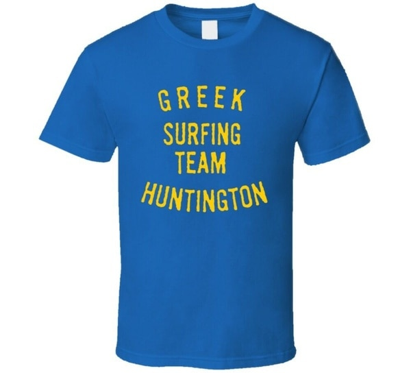 Camiseta de Surf Vintage, equipo de surfear griego, Huntington, 1963