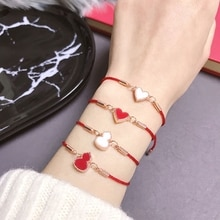 Korean-style Red and White Double-Sided Hoist Heart Bracelet Recurrent Fate Year Good Luck Red Rope