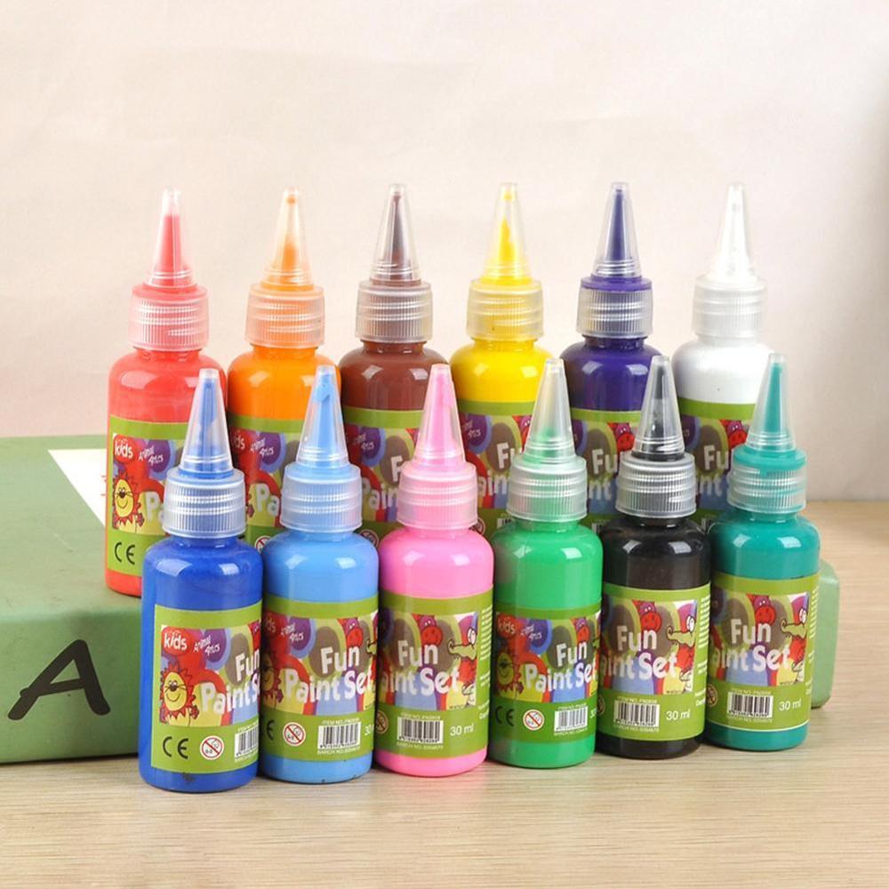 12 cores 30ml pintura em aquarela jardim de infância crianças diy pintura lavagem pintura dedo arte suprimentos para o presente do miúdo