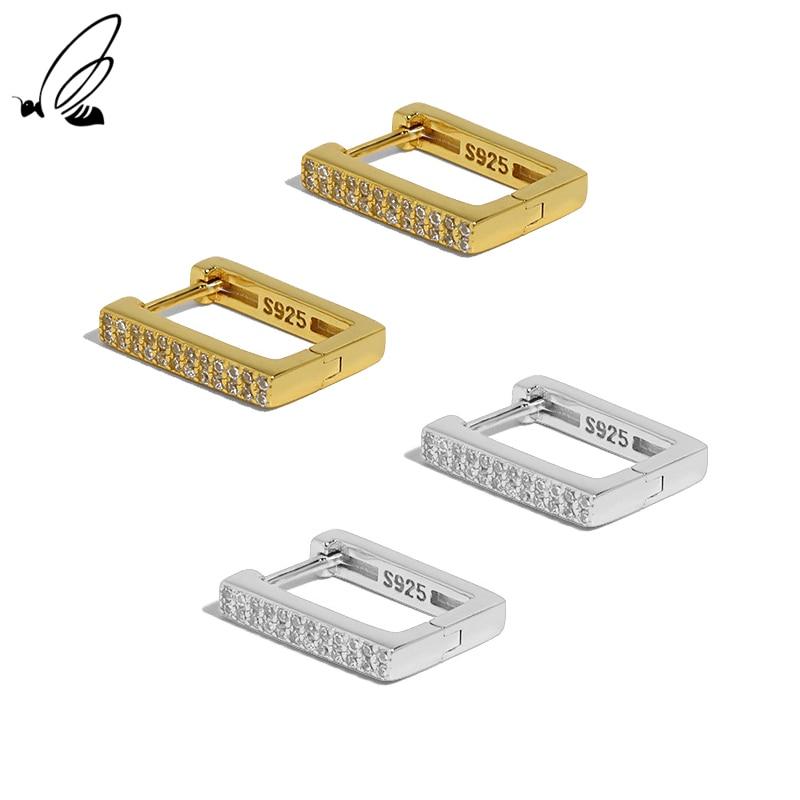 S'STEEL Rectangular Shape Design Hoop Earrings Simple Geometric Zircon Pure Sterling 925 Silver For