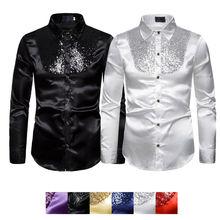 Men top Stage Dance Nightclub Prom Costume Mens Luxury Sequin Glitter Shirts Long Sleeve Silk Satin Shiny Disco Party Shirt