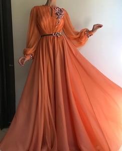 New Muslim Evening Dresses A-line Long Sleeves Chiffon Embroidery Islamic Dubai Saudi Arabia Long Formal Evening Gown