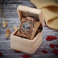 Shifenmei relógios masculinos relógio de moda 2019 relógio de madeira marca luxo cronógrafo esporte relógios relógio de pulso masculino zegarek damski