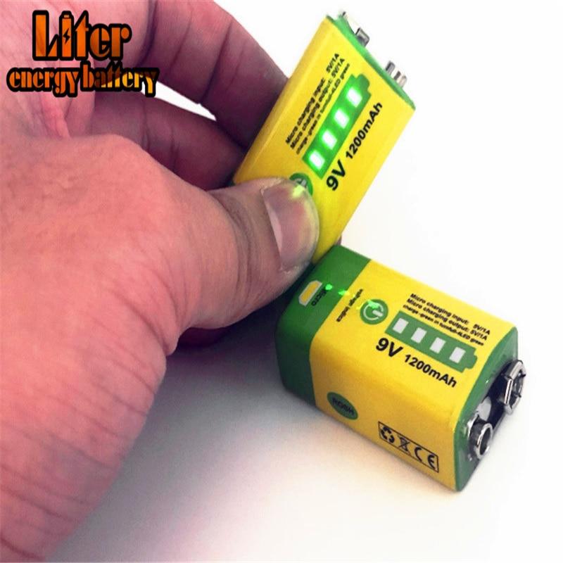 Micro USB 6F22, 9V 1200mAh, batería recargable de iones de litio para alarma de humo, micrófono inalámbrico, multímetro de intercomunicación EQ para guitarra