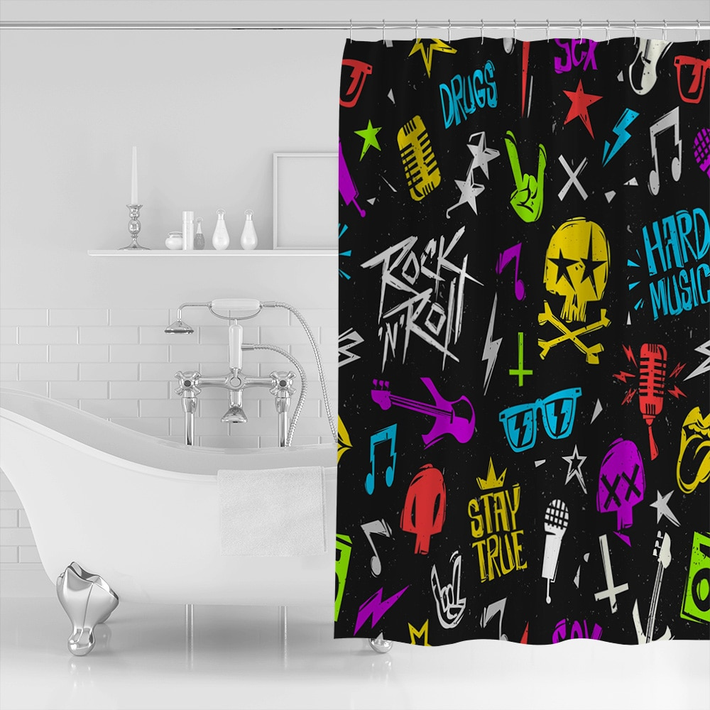 Rock N Roll Cortina de ducha impermeable y Mildewproof cortina para el baño con tejido de poliéster de diseño